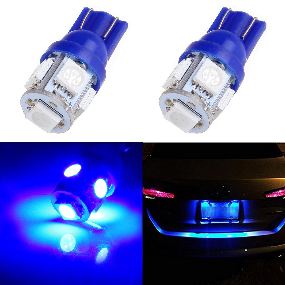 cciyu 194 Extremely Bright LED Bulbs 5-5050-SMD Light Lamp License Plate Light Lamp Wedge T10 168 2825 W5W Blue Pack of 2 990429-5210-1909367305