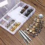Pukido 10pcs Press Stud Buttons Poppers Leather Craft with Fixings Tools Kit 633Tools