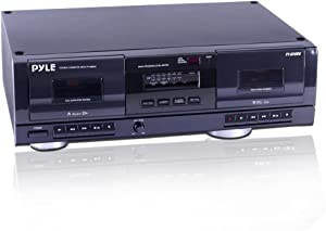 Dual Stereo Cassette Tape Deck - Clear Audio Double Player Recorder System w/ MP3 Music Converter, RCA for Recording, Dubbing, USB, Retro Design - For Standard / CrO2 Tapes, Home Use - Pyle PT659DU