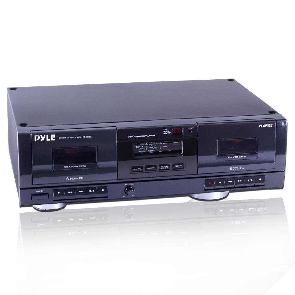 Pyle-Home PT659DU Dual Stereo Cassette Deck with Tape USB to MP3 Converter Sound Around
