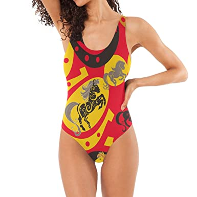 55207499d4 DERLONKAJE Horses and Horseshoe Pattern Swimwear Monokini Beachwear One  Piece Swimsuit Bathing Suits for Women Teen