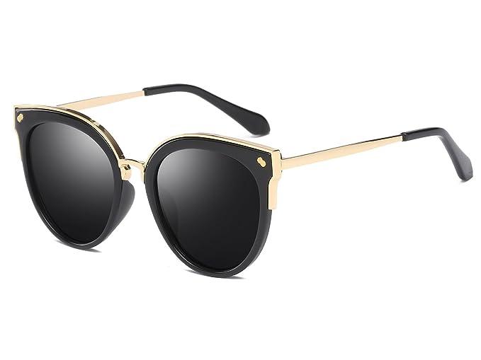 e4759d3149 Bevi Women s Fashion Polarized Cat Eye Polycarbonate Metal Sunglasses  0932C1BKBK