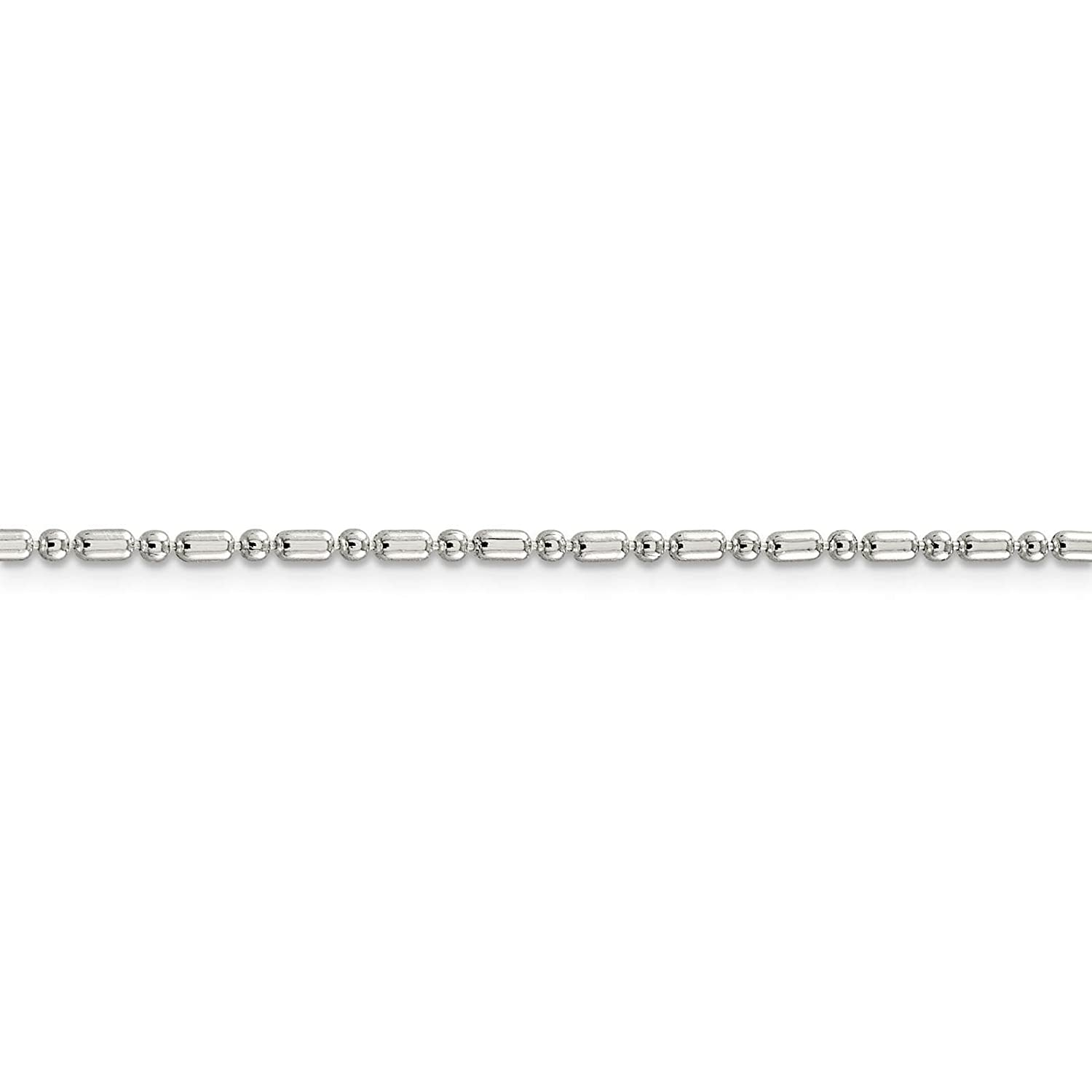 925 Sterling Silver 2mm Fancy Beaded Chain Necklace 16-24
