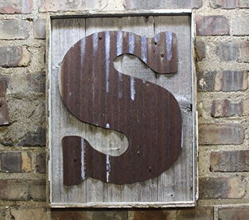 Rusty Tin Letter On Rustic Wood Frame Monogram Rustic Letter Large Letters Home Decor