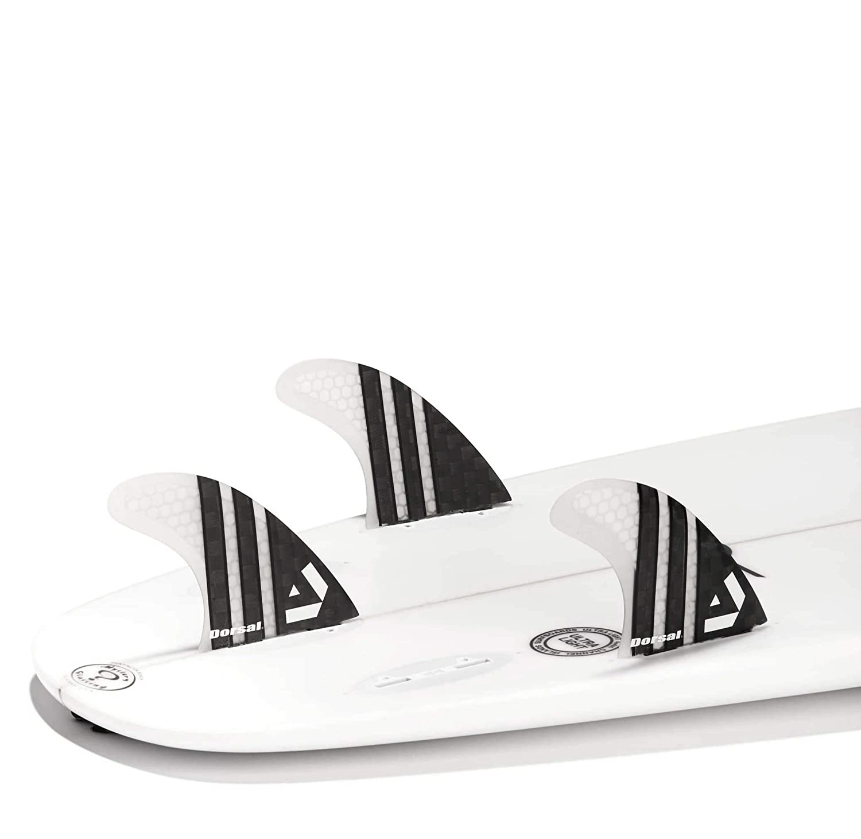Dorsal Carbon Hexcore Surfboard Fins Thruster Set Medium Clear