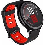 Gshopper® - Smartwatch Amazfit GPS sport con Bluetooth, WiFi, Dual 512MB / 4 GB, cardiofrequenzimetro per iOS Xiaomi Huami (versione inglese) rosso/nero
