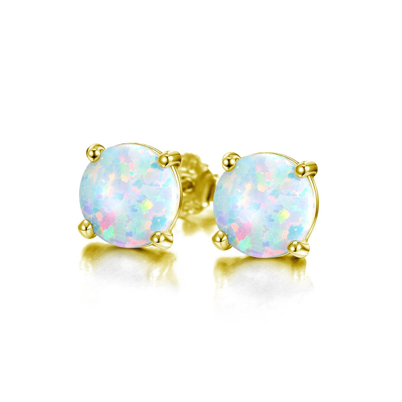 b3e43cf396353 Sterling Silver Stud Earrings - Round Created Opal Studs (6mm)