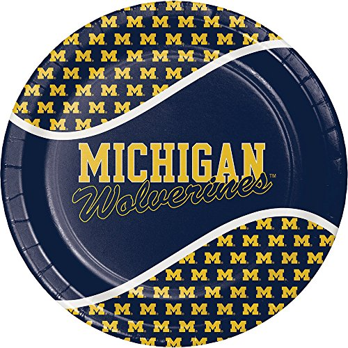 Creative Converting Michigan Wolverines Dinner Paper Plates, 8-Count