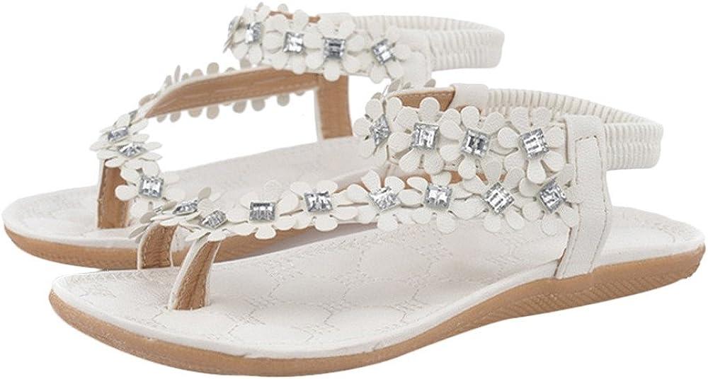 Femmes Solides été Bohême Sandales Perles de Fleurs Tongs Accueil Plage Pierres précieuses incrustées Chaussures Sandales Plates