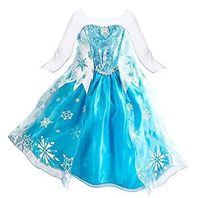 LOEL Princess Inspired Girls Snow Queen Party Costume Dress: Clothing