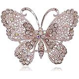 Hosaire 1X Fashion Elegant Diamond Butterfly Wedding Bridal Brooch Pin Rhinestone Covered Scarves Shawl Clip For women's Ladies Jewelry