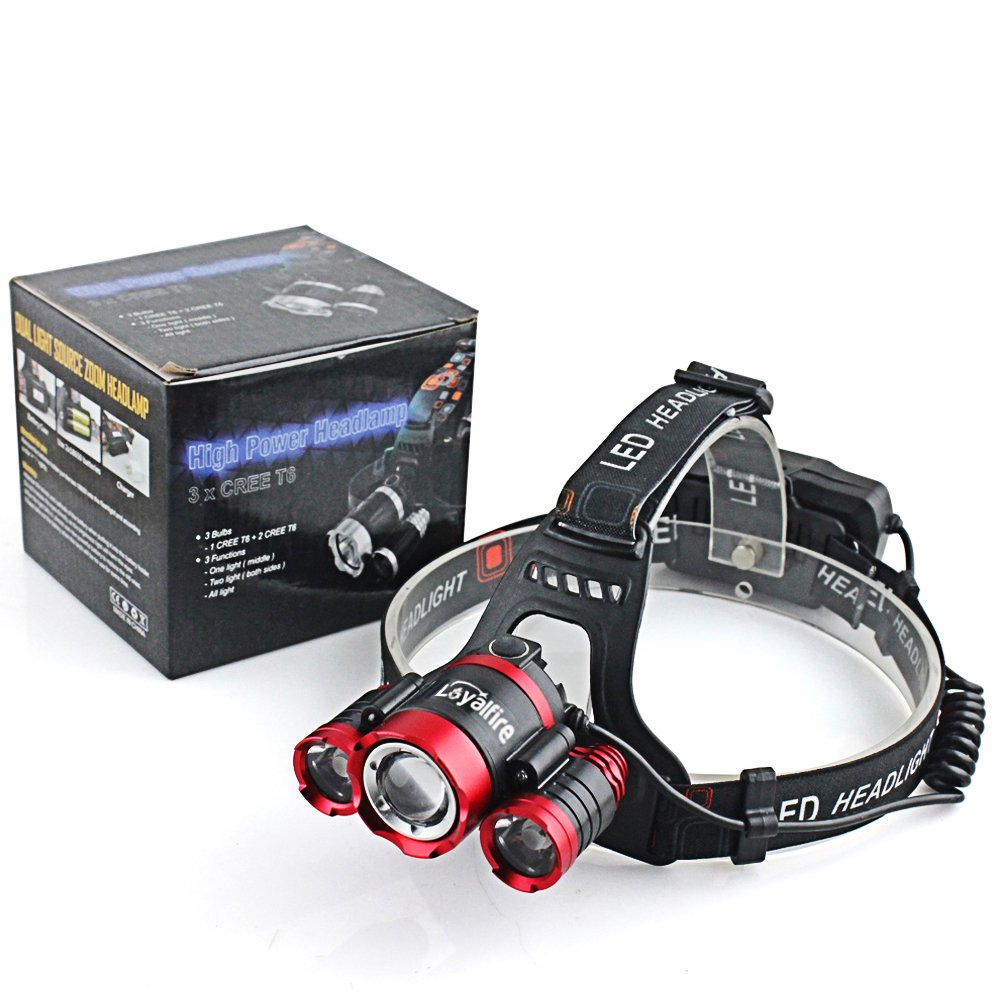 Motion Sensor Headlamp Loyalfire 3 Headlamp XML-T6 Bright Light 4 Modes Rotary Zoomable Waterproof Headlight Flashlight with Induction Powered Battery USB Rechargeable Travel for Camping//Hiking