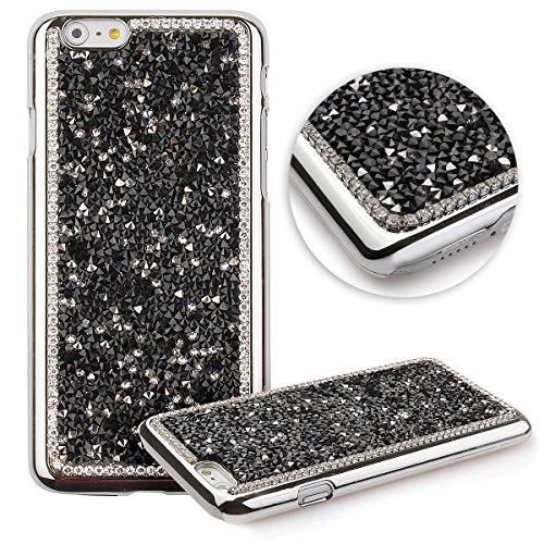 iPhone 6 Plus Case,Luxury Glitter Shiny Bling Sparkle Cover Case For iPhone 6 Plus 5.5 Inch,UZZO Studded Rhinestone Diamond Bling Crystal Hard Case Skin Cover for iPhone 6 Plus - Diamond:Black (6 Ky Iphone Case)