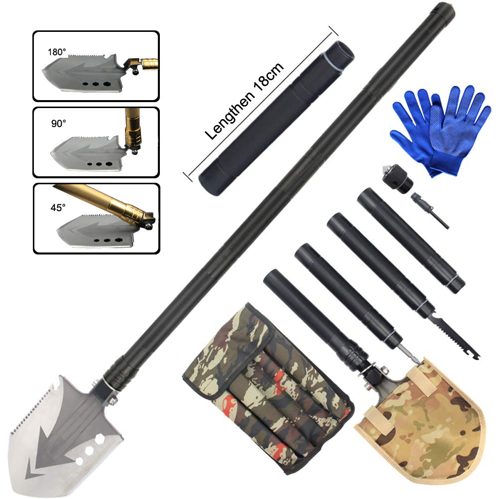 Sunlightam Military Folding Shovel Multitool - Heavy Duty Compact Multitool Military Survival Shovel for Camping Backpacking Hiking Car Emergency with Carrying Case 36'' (Black(Extension Rod))