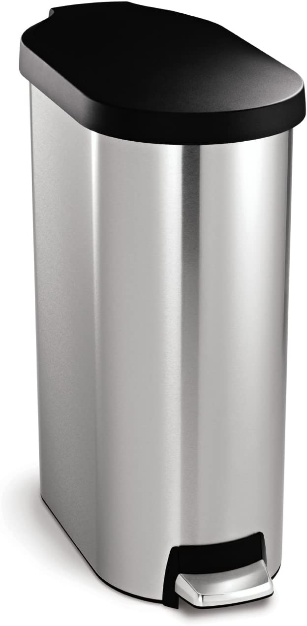 simplehuman 45 Liter / 12 Gallon Slim Step Trash Can, Brushed Stainless Steel with Plastic Lid