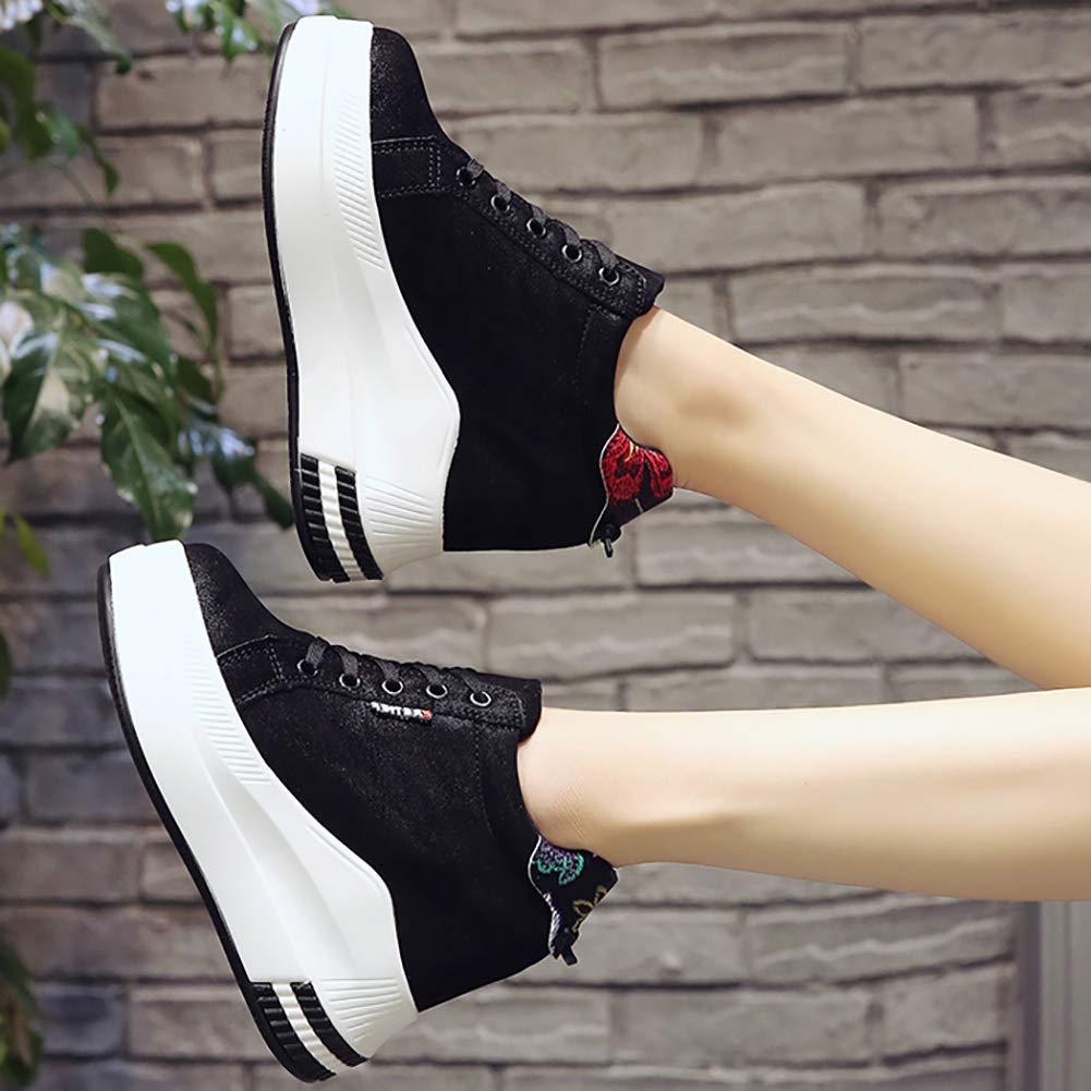 Frauen Plattform Stiefeletten SchnüR-Stickerei Floral Wedges Zunehmende High Heel Turnschuhe HöHe Zunehmende Wedges Schuhe 16bf7e