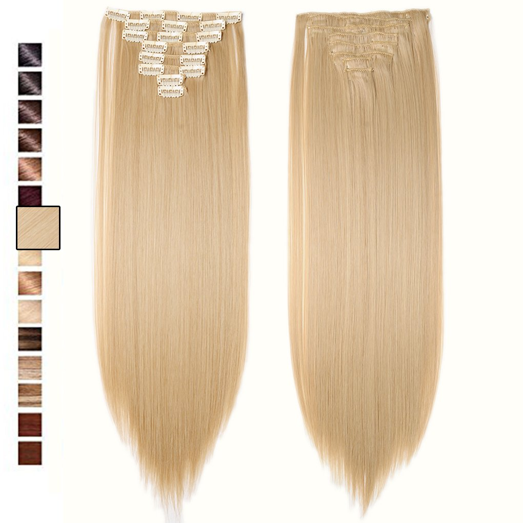 Amazon 20inch long straight 1822 mix blonde 100 human hair s noilite 23 long straight curly 8 pieces clip in on hair extensions pmusecretfo Image collections