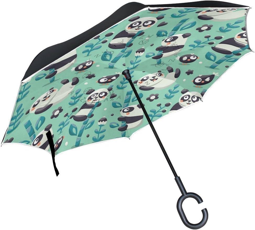 Mnsruu Double Couche invers/é parapluies Panda Bambou Pliant Parapluie Coupe-Vent Protection UV /à lenvers pour Auto Pluie avec poign/ée en Forme de C