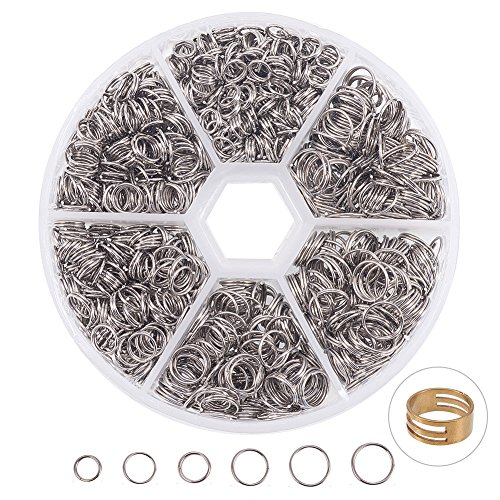 Stainless Steel Double Loop - PandaHall Elite 304 Stainless Steel Split Rings Double Loop Jump Ring Outer Diameter 5-8mm 1 Box for Jewelry Making