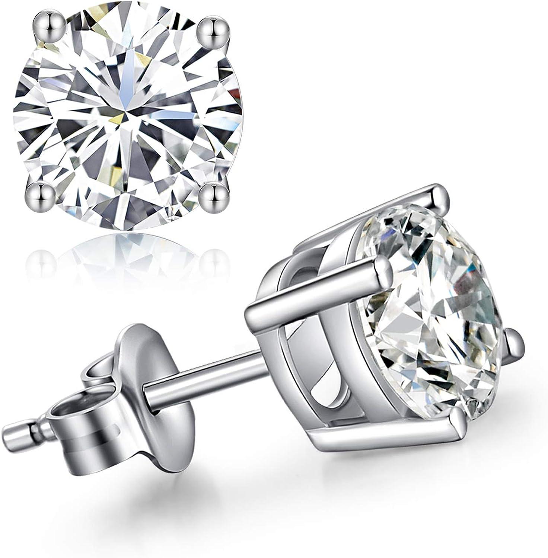 Han han Sparkling CZ Diamond Stud Earrings 925 Sterling Silver Cubic Zirconia Round Princess Cut Fashion Earrings Nickel-Free Hypoallergenic Studs Earrings for Women/Men Unisex Earrings Studs