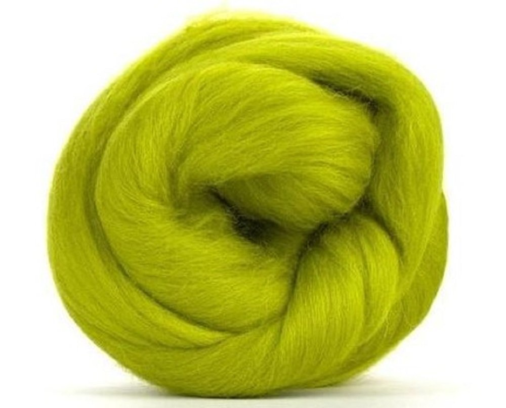 4oz Paradise Fibers 64 Count Dyed Gooseberry (Green) Merino Top Spinning Fiber Luxuriously Soft Wool Top Roving for Spinning with Spindle or Wheel, Felting, Blending and Weaving