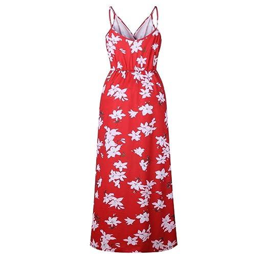 Yesmile 💋💝Vestido de Mujer Vestido de Estampado Vestido Elegante de Noche para Boda Fista Vestido Ajustado de Manga Larga Floral Casual de Mujer (Rojo, ...