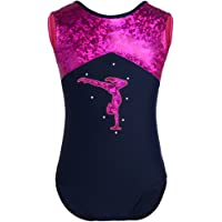 TiaoBug Enfant Fille Justaucorps de Danse Ballet Costume de Danse Brillant Body de Gym Collant Combinaiso sans Manche Vêtement de Sport Yoga Dancewear 3-14 Ans