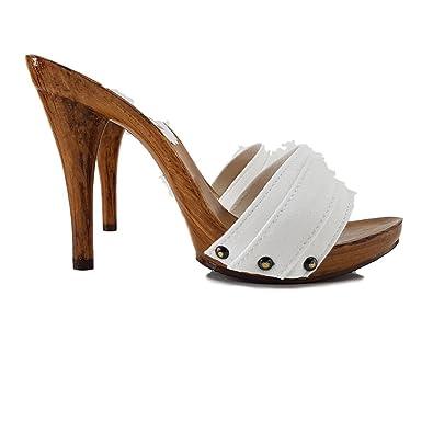 kiara shoes Damen Weiszlig; Holzschuhe Leder -M710 Bianco