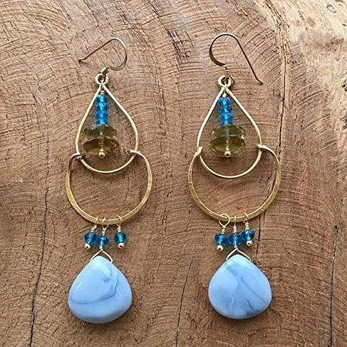 Vermeil Earrings Disc (African Blue Opal Earrings | Lemon Quartz | Apatite | 24K Gold Vermeil | One Of A Kind)