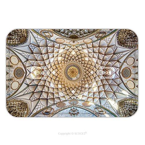 Flannel Microfiber Non-slip Rubber Backing Soft Absorbent Doormat Mat Rug Carpet Kashan Iran December Ornamental Ceiling Of Borujerdi Historical House In Kashan Iran 363468002 for (Burgundy Kashan Rug)