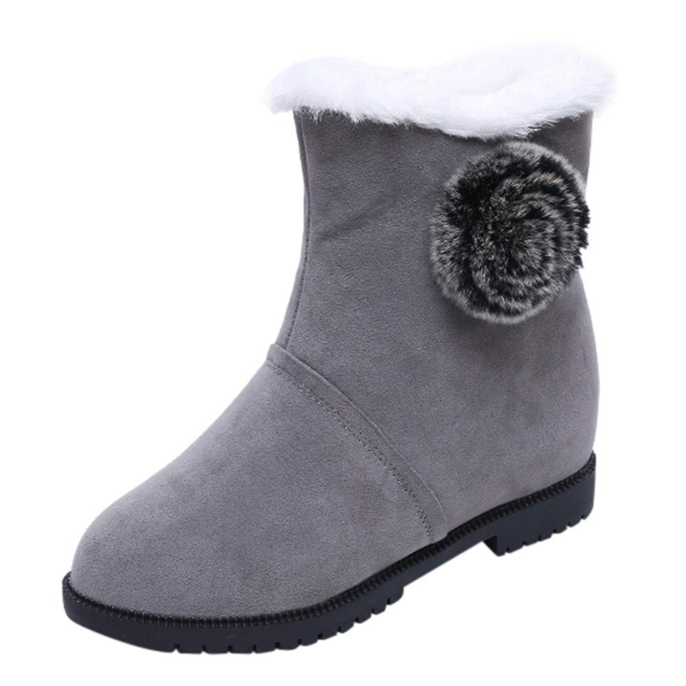 Femme Bottines Bottes Hiver Chaud Mode Incresing Solid Poils Botte De Neige Round Shoes Toe Chaussures VonVonCo2018100004