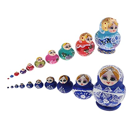 10pcs Adorable Chicken Russian Wooden Nesting Doll Matryoshka Babushka Doll