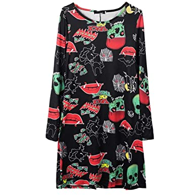 dc8f0fcbe Amazon.com: DEATU Ladies Dress, Teen Woman Halloween Horror Crimson Lips  Print Long Sleeve Crew Neck Winter Dress: Clothing