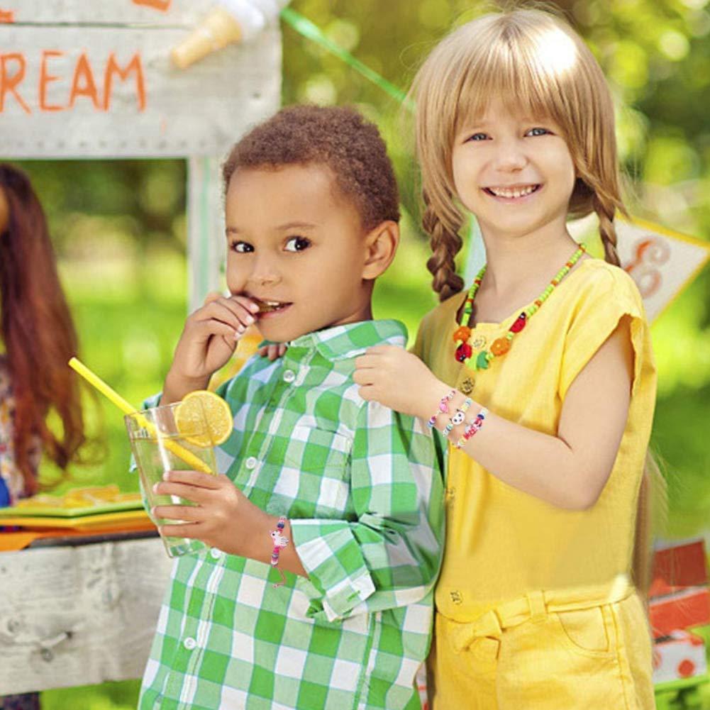 LovesTown 14Pcs Children Bracelets, AdjustableKids Friendship Bracelets Jewelry Animal Pendant Woven Bracelets for Prize Pretend Play Party Favors for Girls Kids