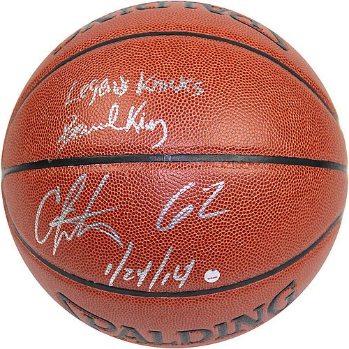 Bernard-KingCarmelo-Anthony-Dual-Signed-IO-NBA-Brown-Basketball-w-62-12414-Inscription-By-Anthony-and-Legends-Knicks-Inscription-By-King-Certified-Authentic-Autograph