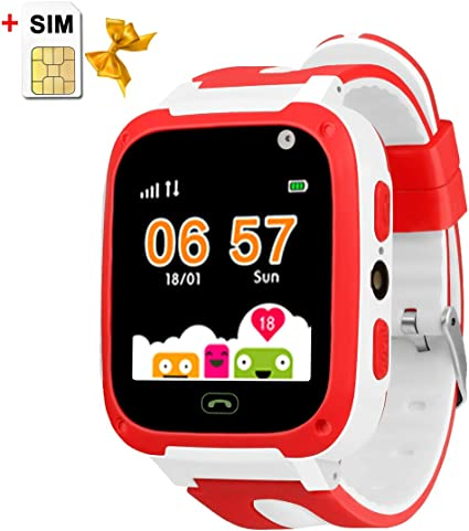 Kids Smartwatch Children Watches with SIM Card Included Two-Way Call SOS,Games Camera Voice Chat Flashlight LBS Positioning
