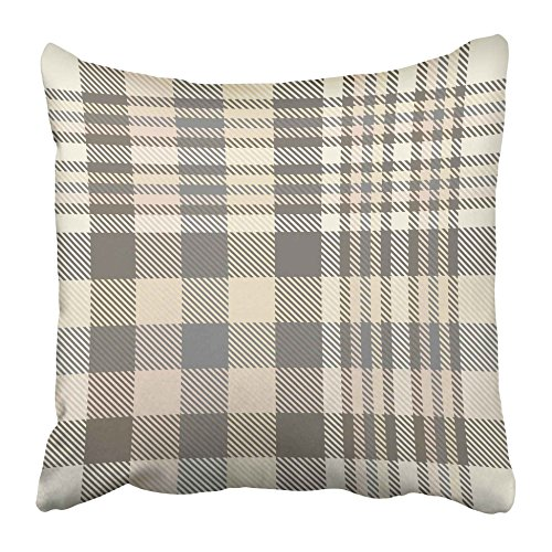 Emvency Decorative Throw Pillow Covers Cases Gray Border Tartan Plaid Pattern in Shades of Cream Beige Brown and Grey Tan Check Checker Chequer 20X20 Inches Pillowcases Case Cover Cushion Two Sided