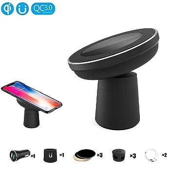 EooCoo Cargador Inalámbrico Rápido, Soporte de carga inalámbrico magnético para iPhone X / 8 / 8 Plus,para Samsung Glaxy Note 8/ S8/ S8 Plus y ...