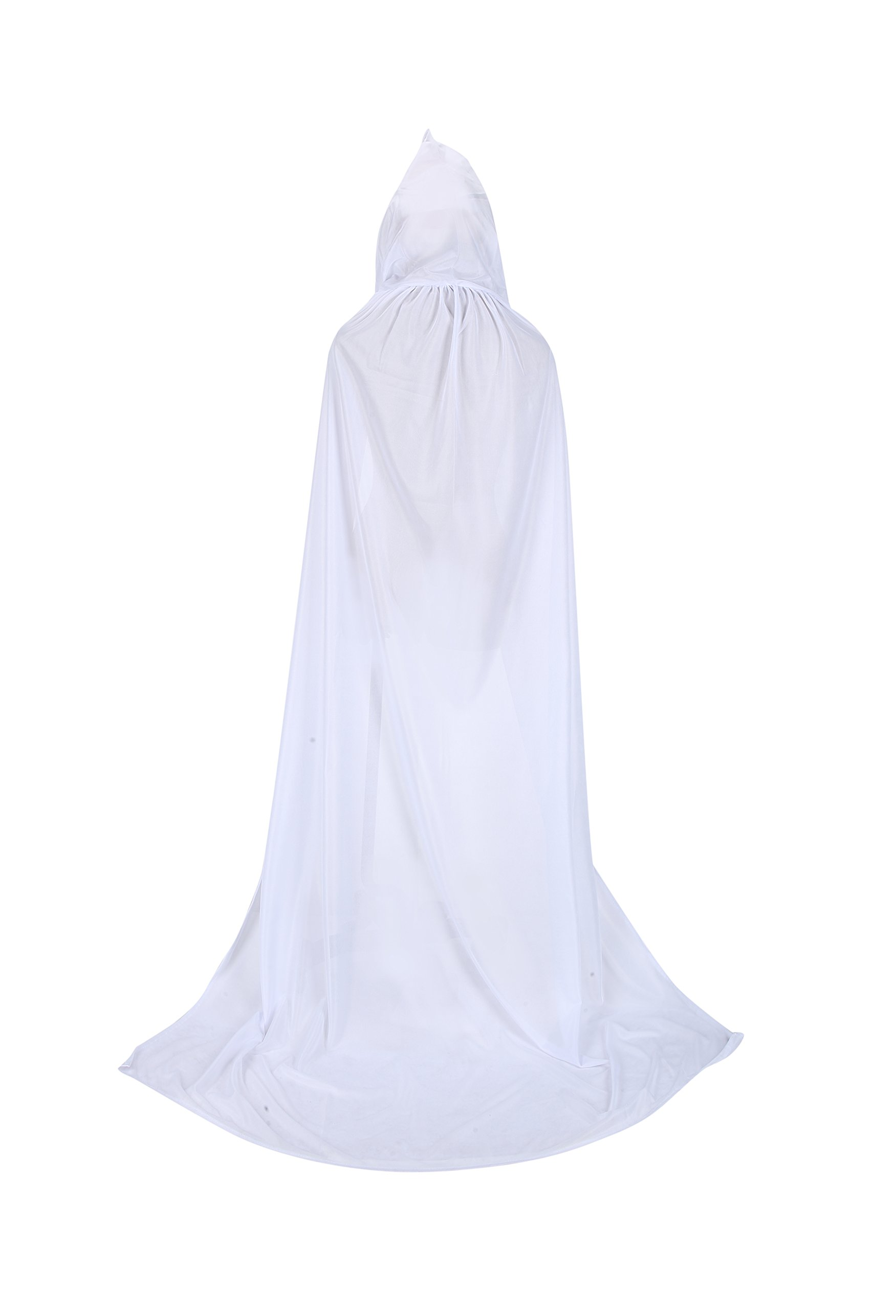 TULIPTREND Full Length Hooded Cloak Christmas Halloween Cosplay Costume Wedding Cape, Medium, White