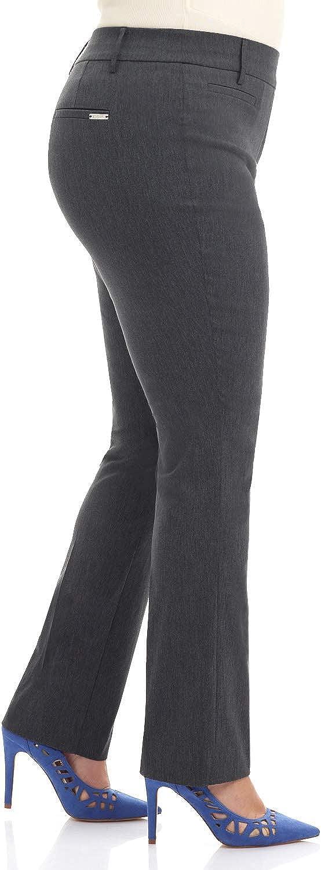 Rekucci Curvy Woman Plus Size Modern Straight Leg Pant w//Tummy Control