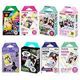 fujifilm instax mini film comic - Fujifilm Instax Mini Film 8 Pack Bundle! Rainbow, Candy Pop, Stained Glass, Shiny Star, Disney Alice, Comic, Airmail, Stripe 10 X 8 = 80 Sheets Assort Set + Stickers 40 pcs.