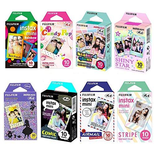 Fujifilm Instax Mini Film 8 Pack Bundle! Rainbow, Candy Pop, Stained Glass, Shiny Star, Disney Alice, Comic, Airmail, Stripe 10 X 8 = 80 Sheets Assort Set + Stickers 40 pcs.