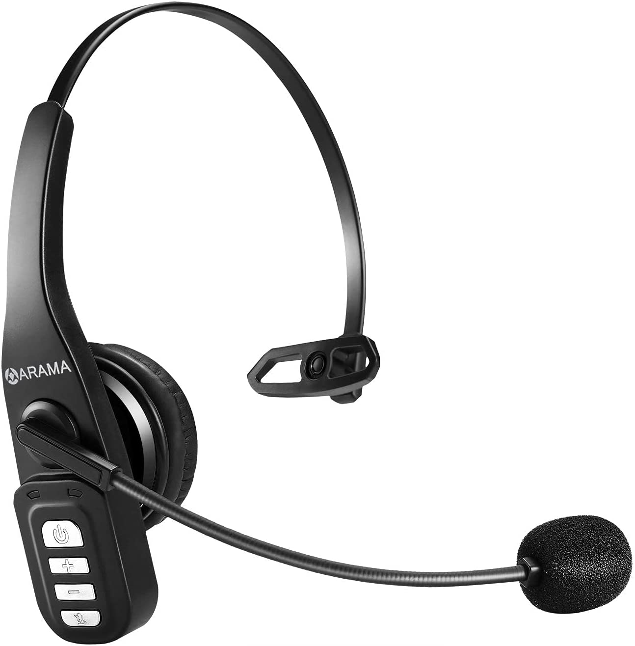 Trucker Bluetooth Headset 5.0 with Microphone Noise Cancelling Wireless Headset On Ear Headphone 22H for Cell Phones Laptop Trucker Home Office Online Class Call Center Skype Zoom