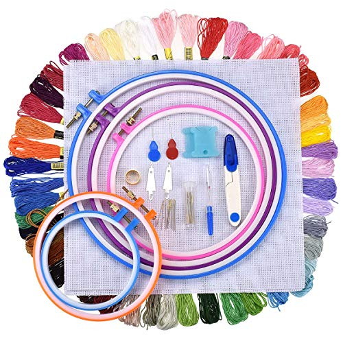 Euow Cross Stitch Tool Set,Embroidery Entry Level Set - 5 Plastic Embroidery Hoops,50 Color Lines,11.8x11.8inch Embroidered Cloth&Threading Device&Winding Plate Sewing Kit
