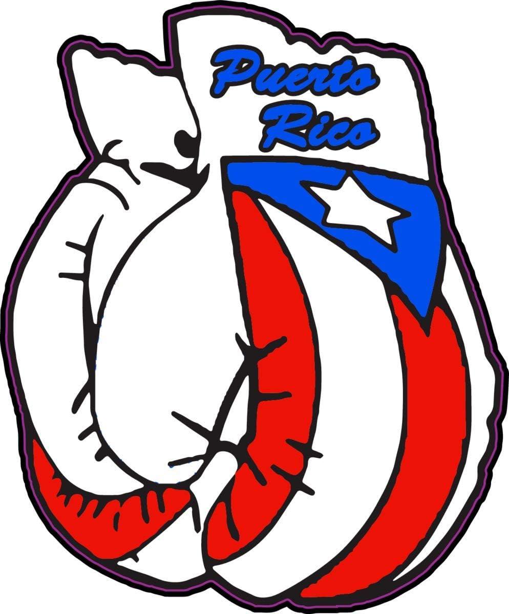 WickedGoodz Puerto Rican Flag Boxing Gloves Vinyl Decal - Bumper Sticker - Proud Puerto Rico Gift