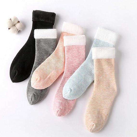 SHOBDW Mujer Sólido Puro Cálido Patineta Calcetín de la cama del piso Calcetines de rayas verticales Nieve más gruesos Calcetines térmicos de algodón ...