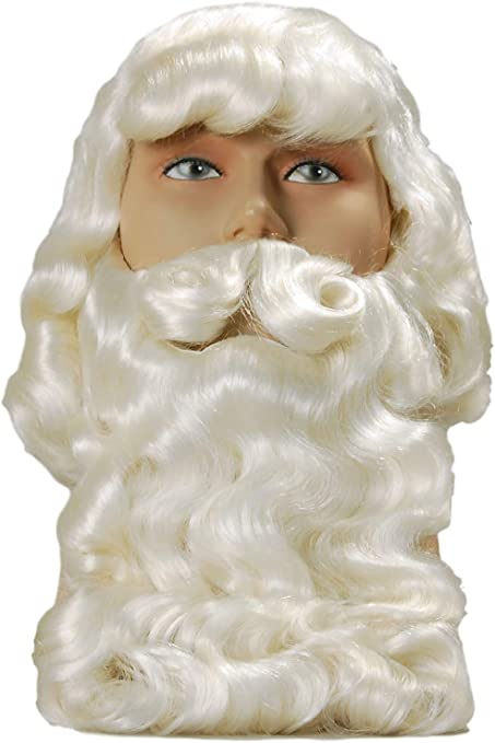 Deluxe Santa Claus Wig Beard Mens Father Christmas Fancy Dress Costume Set