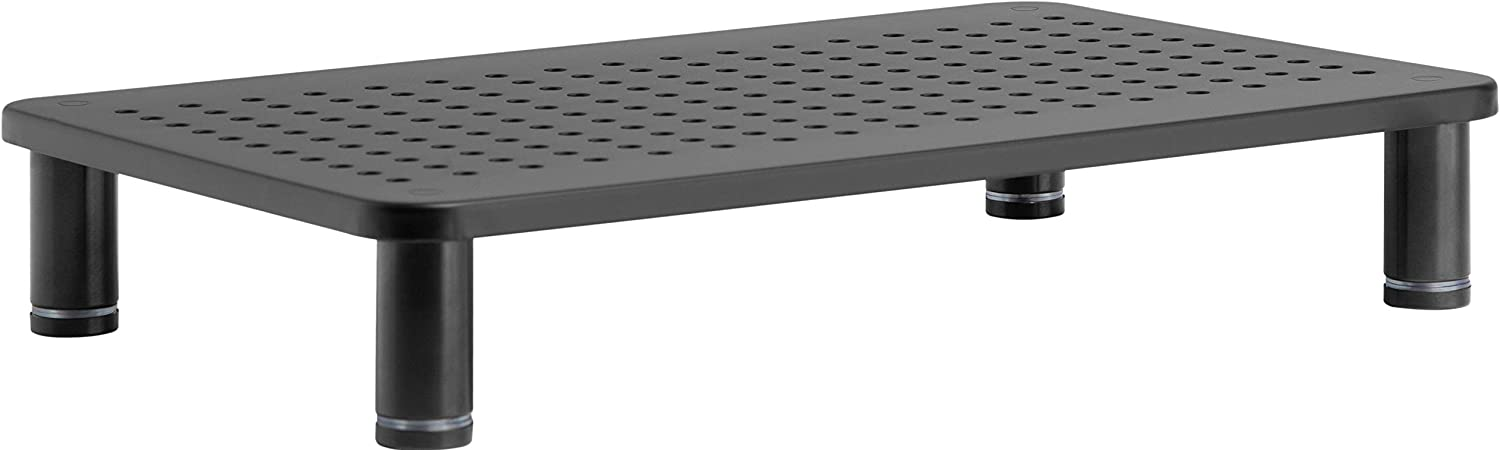 """Monitor Laptop Stand Riser - Durable, Stable Top 14.5x9.5"""", Stainless Steel Legs, Small Footprint, Adjustable Height, Storage Space Underneath. New Sleek Modern Black Design for Home, Office"""