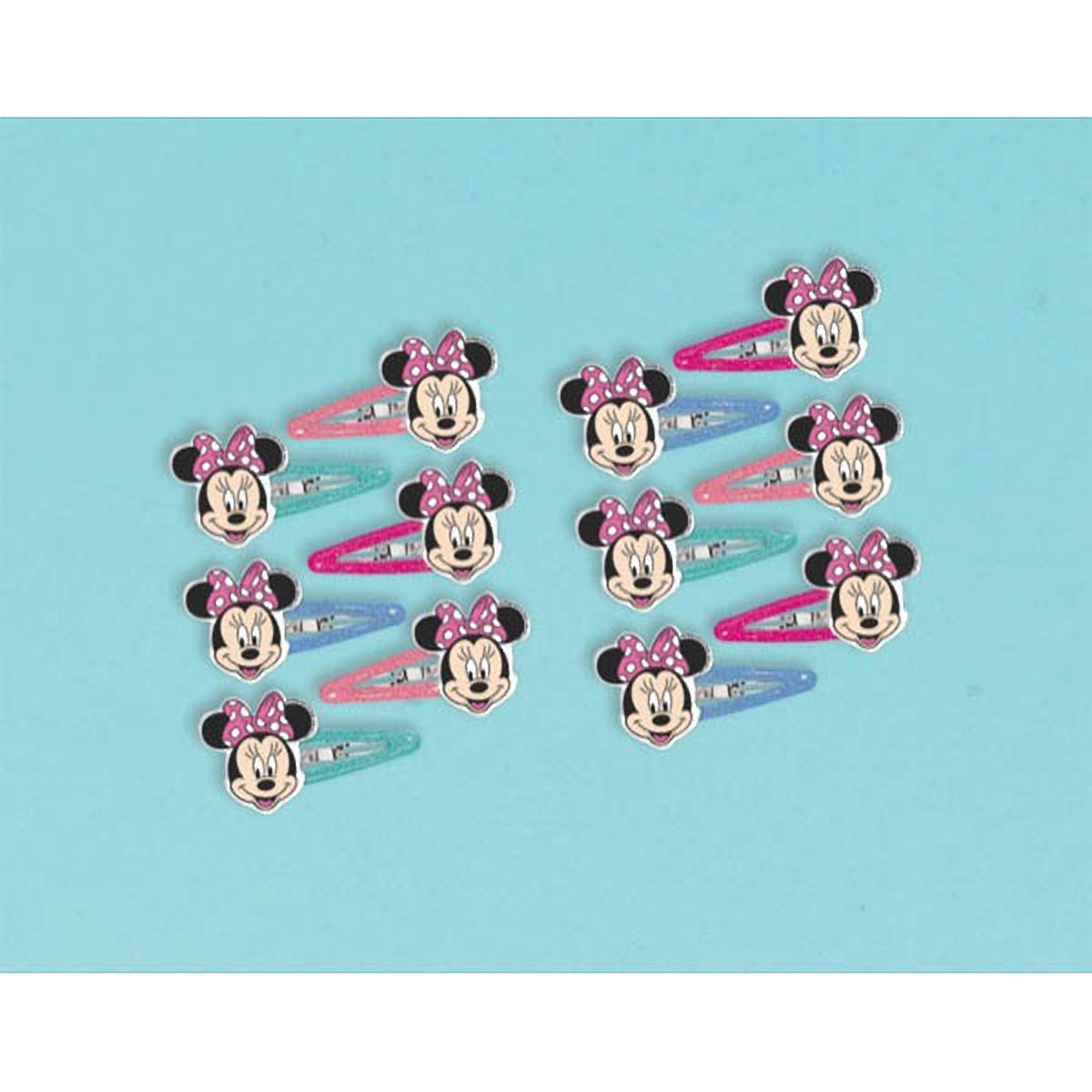 Disney Minnie Mouse Bow Hair Clip, Multi Color, 1X1 3/4-Inch (12 Pack) Amscan AM-390429