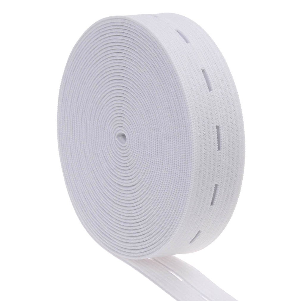 11mm COTOWIN 3//4-Inch Wide White Knit Buttonhole Elastic 5 Yards 5 Wood Buttons